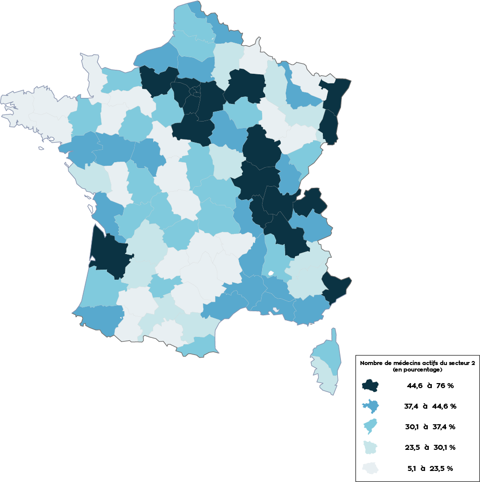 Carte de france effectifs secteur 2